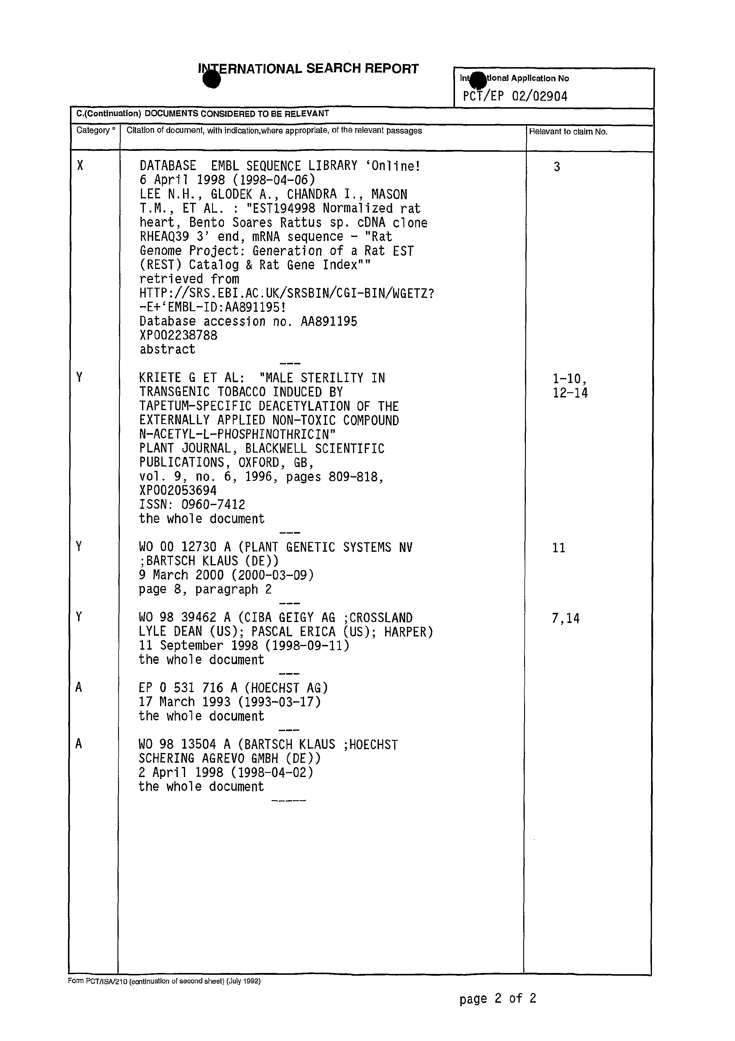 WO 2002/072804 A3 - Novel Genes For Conditional Cell
