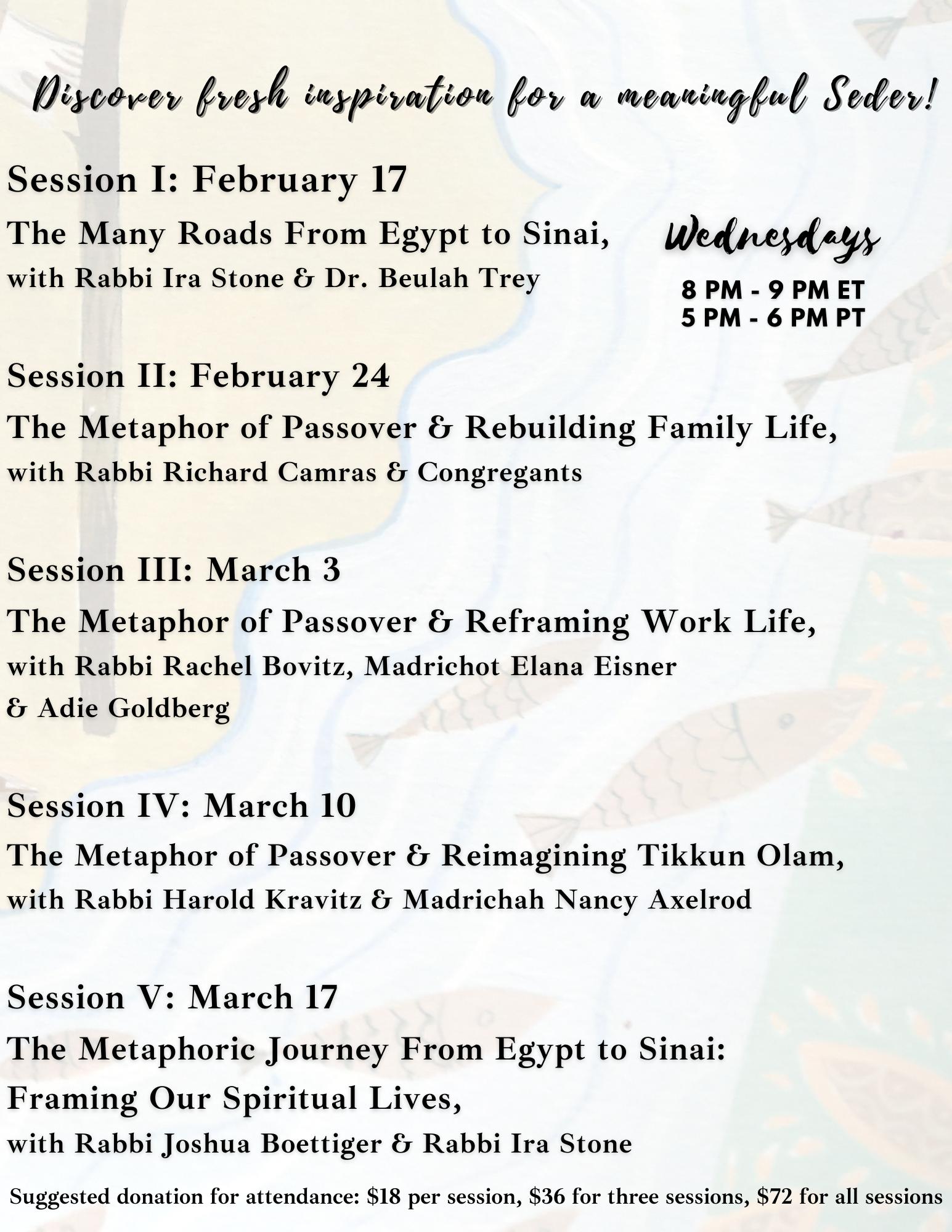 Pre-Pesach Schedule