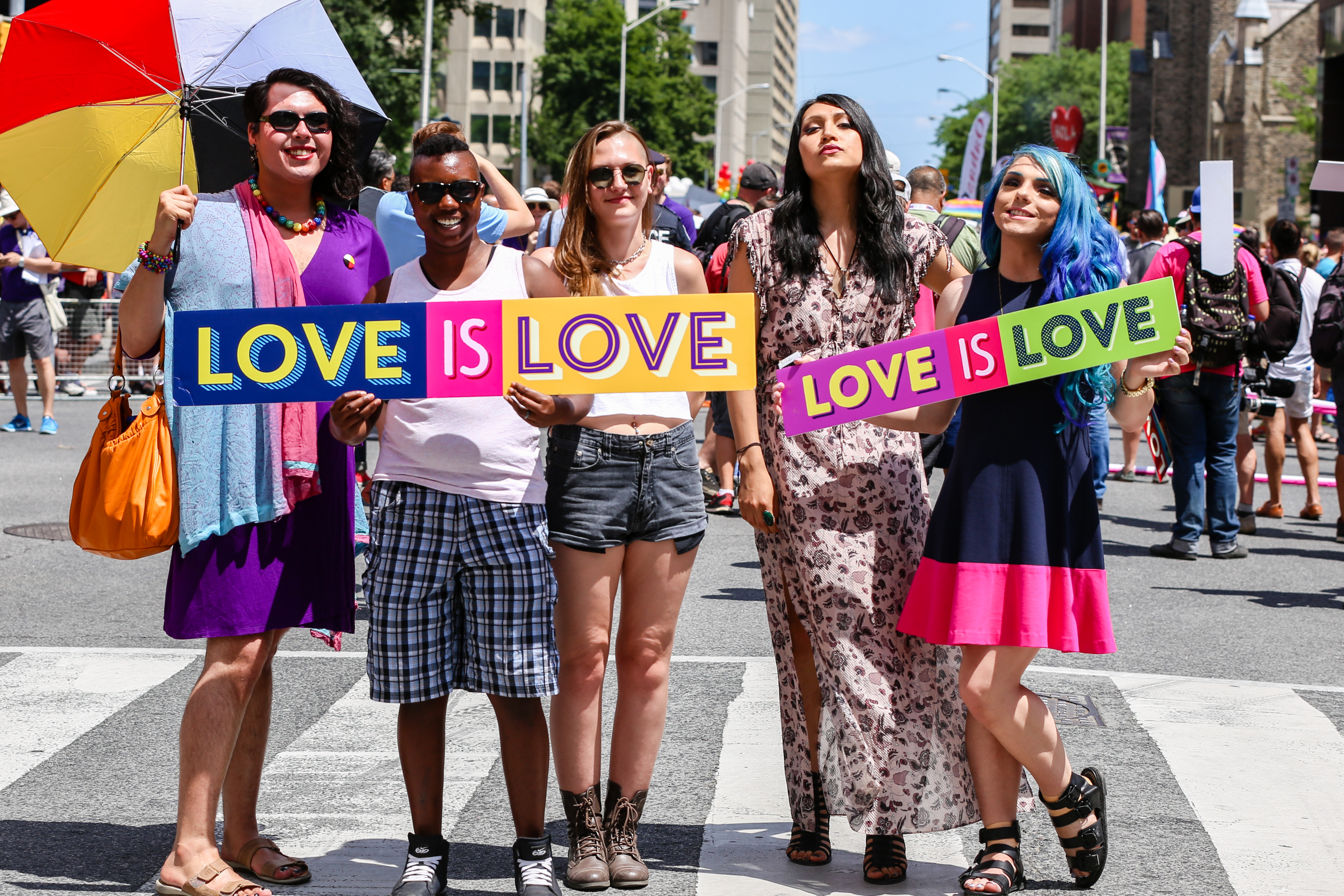 Pride People with Love Signs