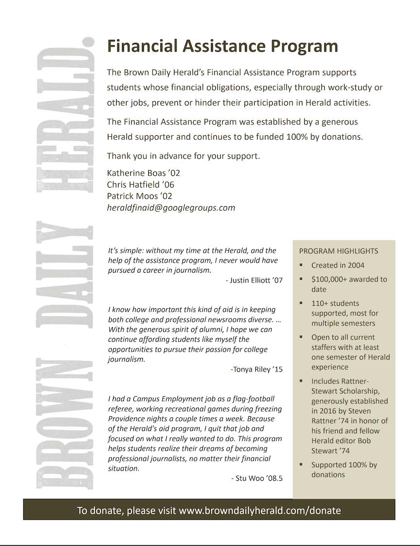 Herald Financial Assistance Program