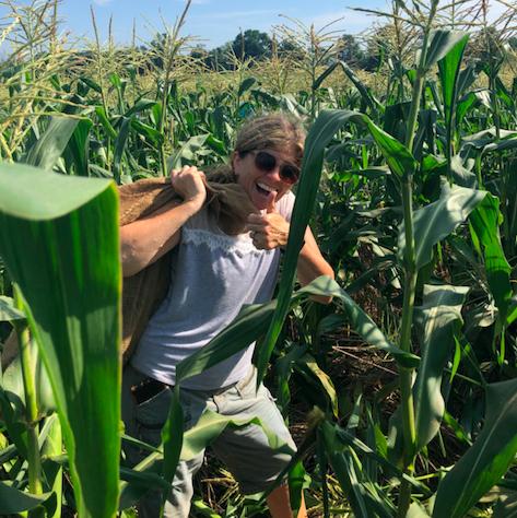 Claire in corn