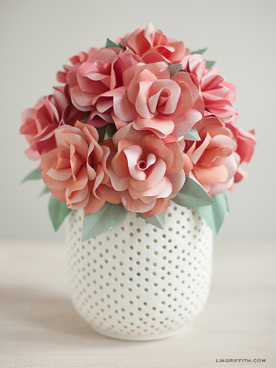 How to make a paper rose wedding bouquet lia griffith pink paper roses in pot mightylinksfo