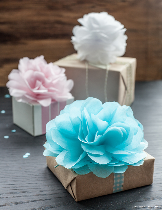 Diy tissue pom pom gift toppers mightylinksfo