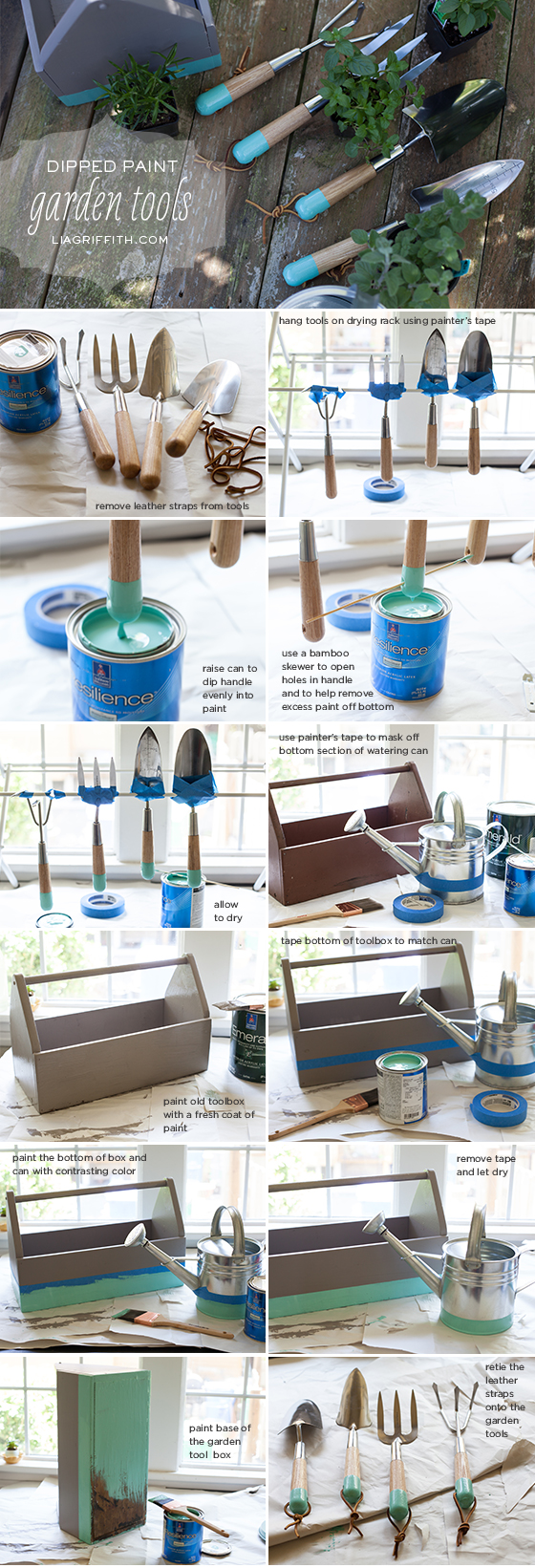 Dip Painted Garden Tools Tutorial