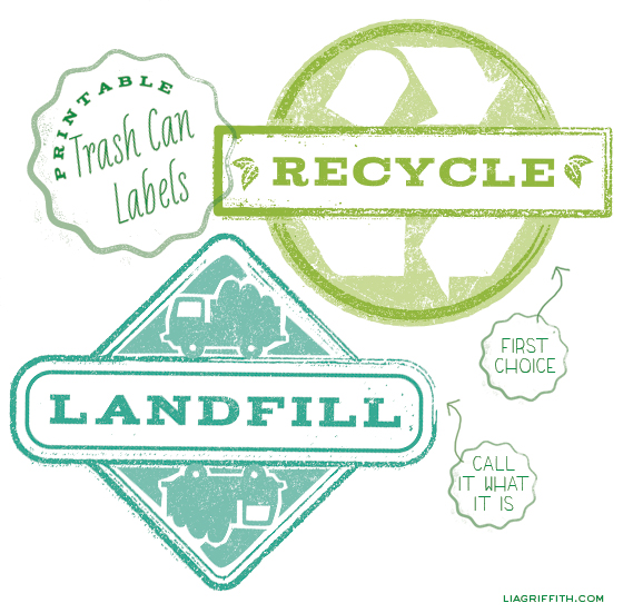 photo about Trash Sign Printable identified as Printable Trash Can Labels - Lia Griffith