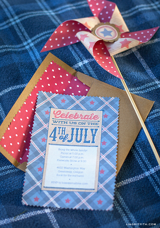 printable vintage fourth of july invitation envelope liner