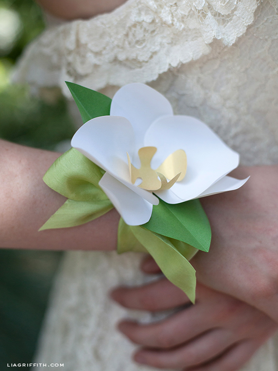 Paper Orchid Wrist Corsage