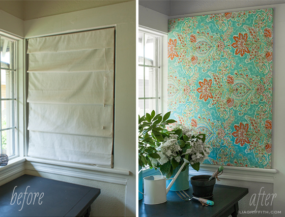 Make easy diy art with a canvas stretcher frame and pretty fabric before after fabric art solutioingenieria Gallery