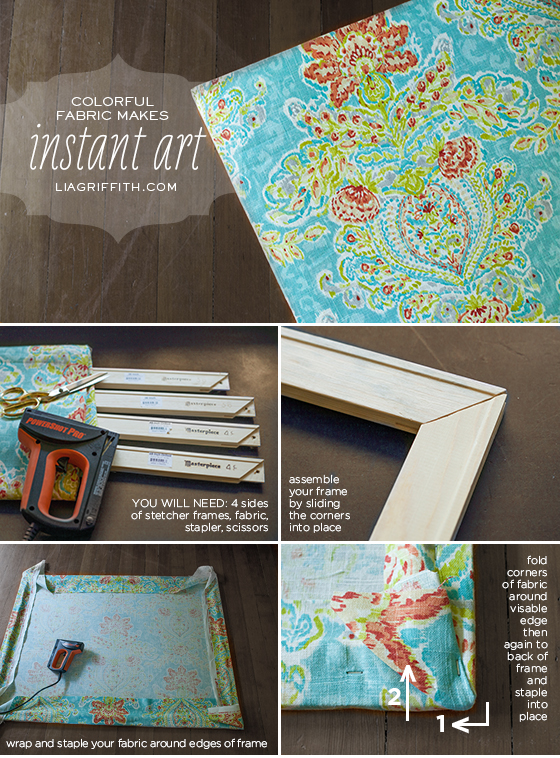 make easy diy art with a canvas stretcher frame and pretty fabric lia griffith. Black Bedroom Furniture Sets. Home Design Ideas