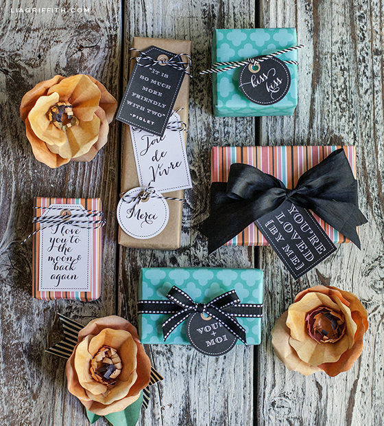 French Gift Wrap Gift Tags