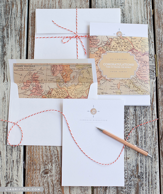 Vintage Map Stationery Set