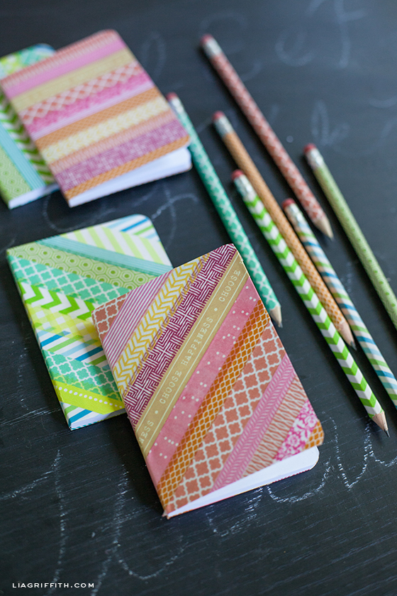 Diy washi tape notebooks and pencils for Back to school notebook decoration ideas
