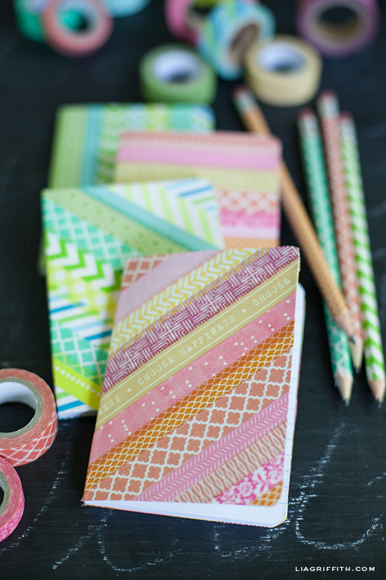 School Project Book Cover : Diy washi tape notebooks and pencils
