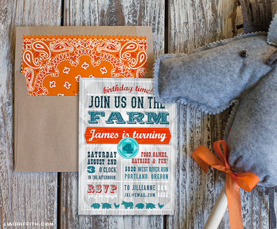 Farm Party Invitation and Envelope Liner – Farm Party Invitations