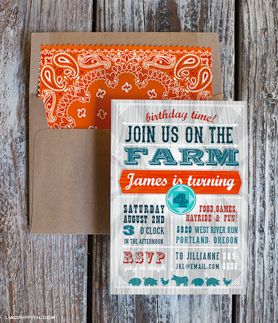 Farm Party Invitation and Envelope Liner – Party Invitation Envelopes