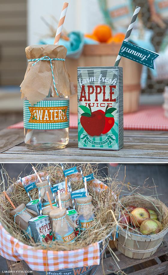 Farm Party Water Juice Labels
