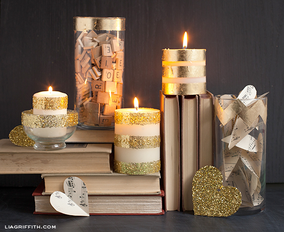 Gold Foil Glitter Candles