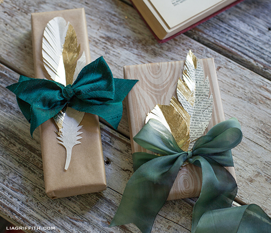 Gifts Topped with Paper Feathers