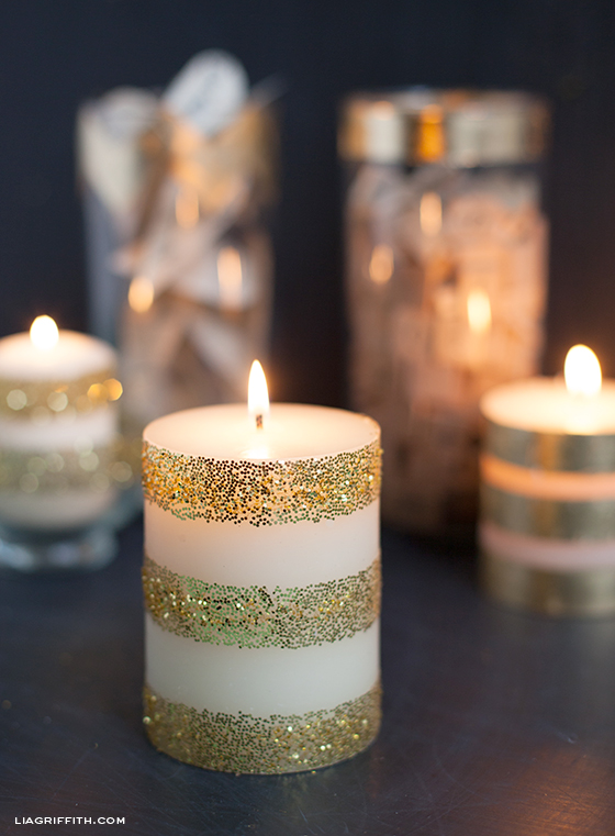 Beautiful Dress Up Plain White Candles with Gold Leaf & Glitter - Lia Griffith GY12