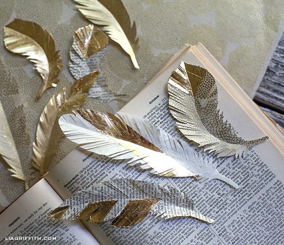 Gold Paper Feathers