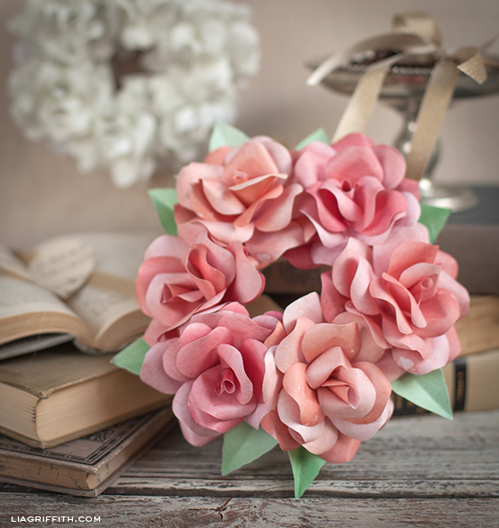 Make a mini paper rose wreath lia griffith paper rose mini wreath mightylinksfo