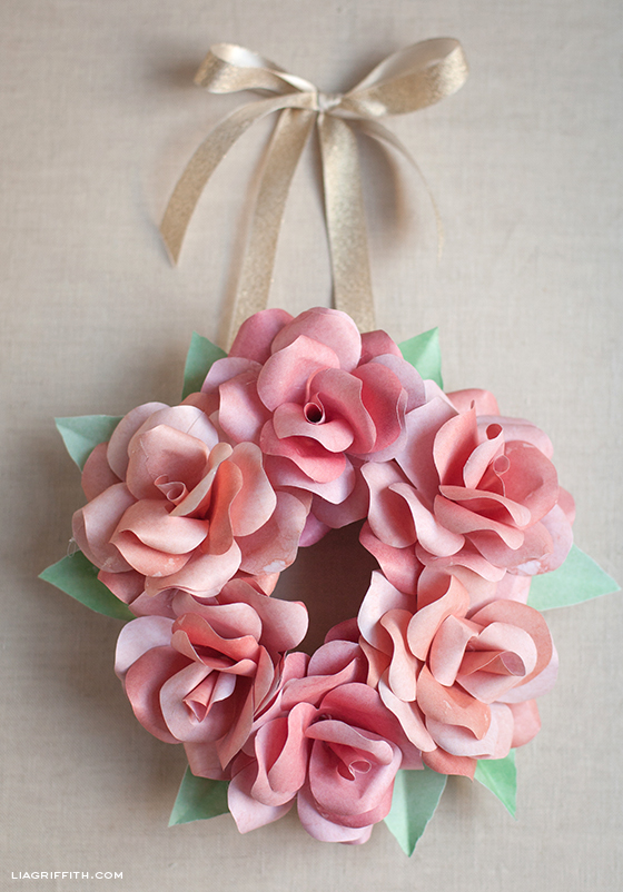Paper Rose Wreath Pin