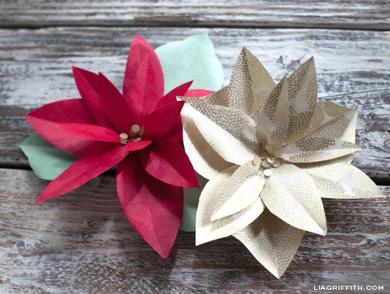 Diy paper poinsettia made in paper magazine how to make paper poinsettias mightylinksfo
