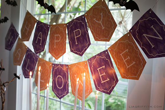 image regarding Halloween Banner Printable identified as Satisfied Halloween Banner