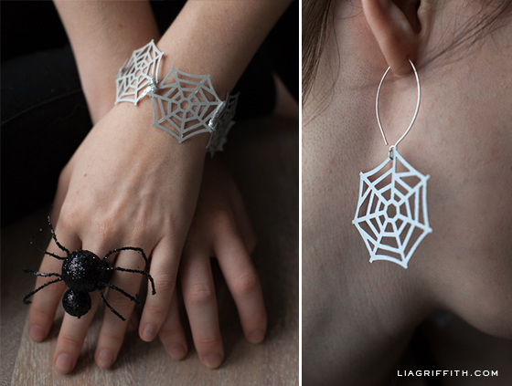 Spider Web Earrings Bracelet