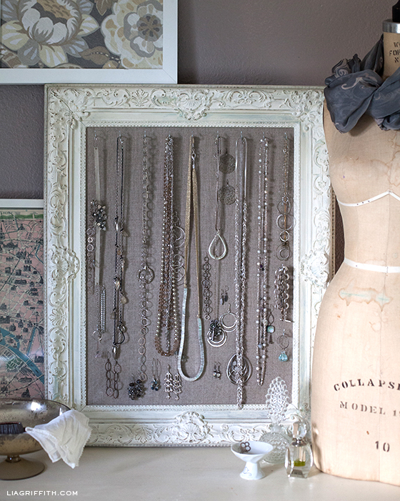 DIY Antiqued Frame Jewelry Display