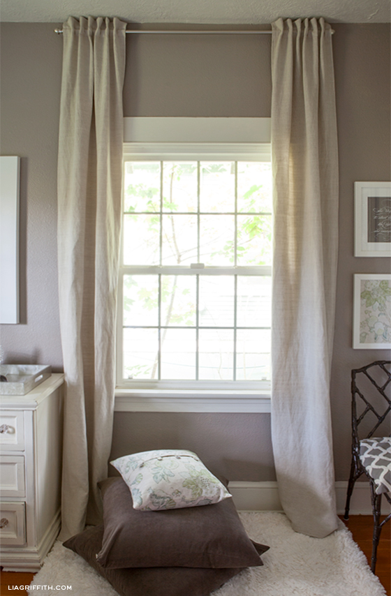 DIY Back Tab Linen Curtains