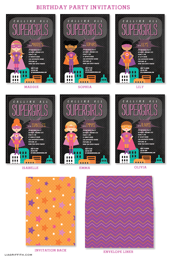 Super Girl Party Invitations