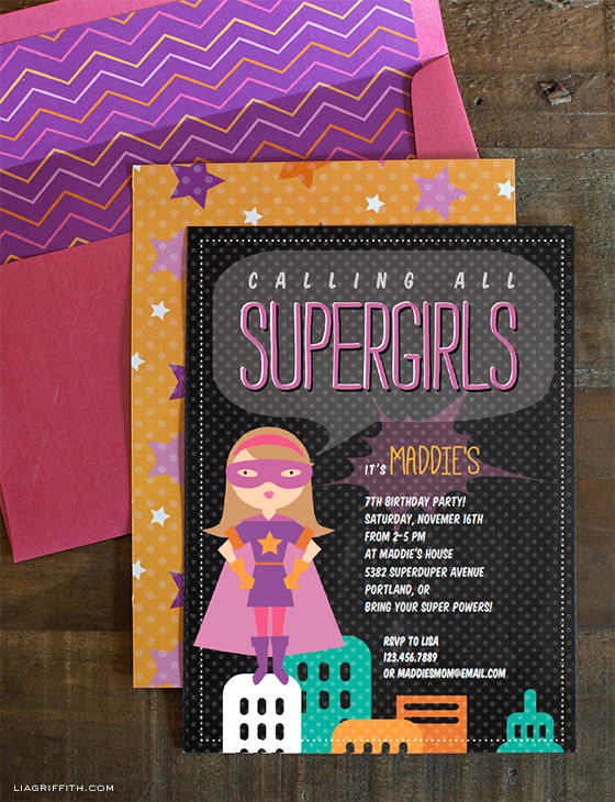 Supergirl Birthday Party Invitation Printable