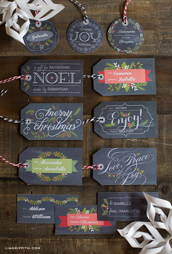 Printable Chalkboard Gift Tags Labels Christmas