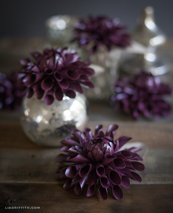 Purple Paper Dahlias