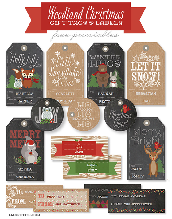 printable woodland christmas gift tags labels