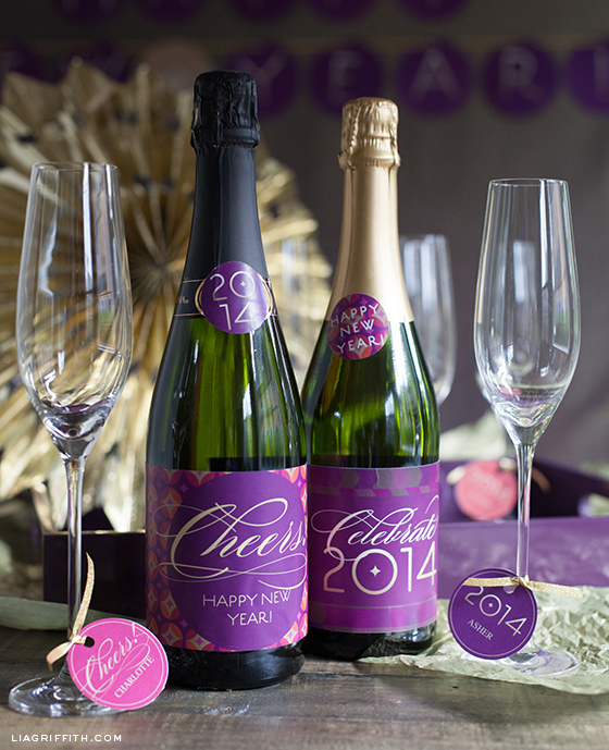 Champagne Lables Glass Tags