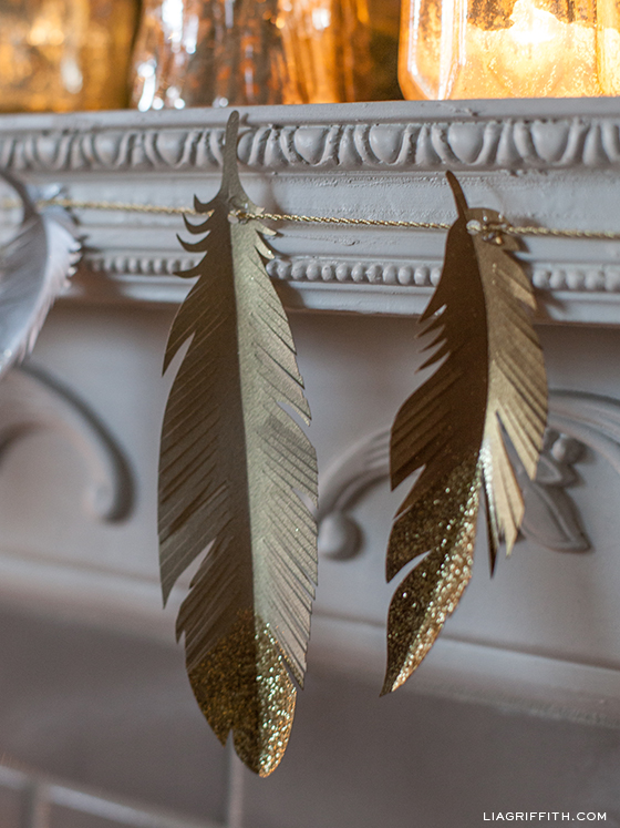 GoldGlitterPaperFeathers