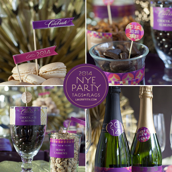 Printable Tags, Flags, and Labels for a New Years Party