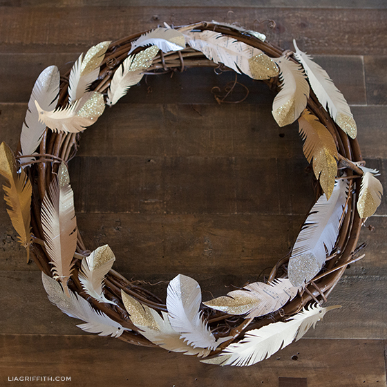 How to Make a Glitter Feather Wreath