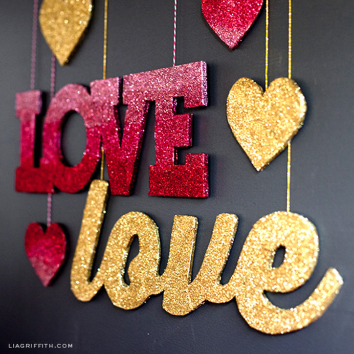 Glitter love party decor