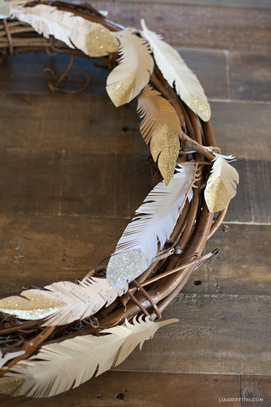 DIY Gold Feather Wreath
