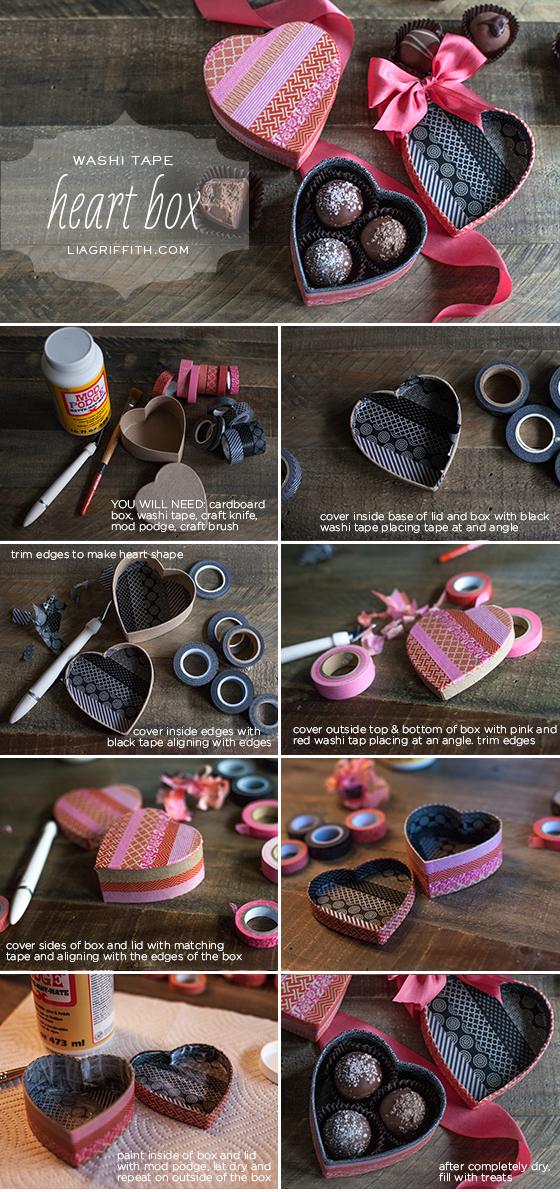 Washi Tape Heart Box Tutorial