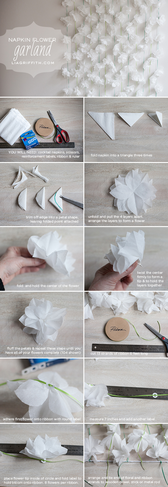 Cocktail napkin flower garland napkin flower garland napkin flower garland tutorial mightylinksfo