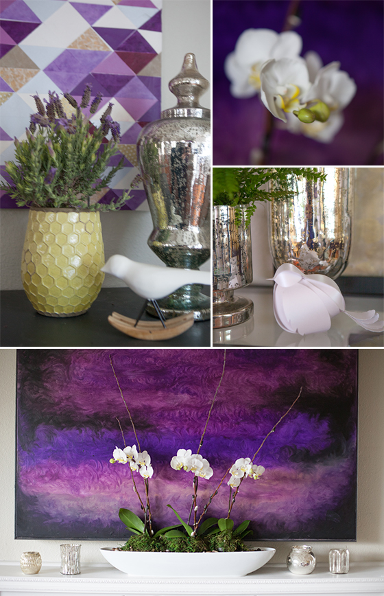 Plum artwork, flowers, and birds living room decor