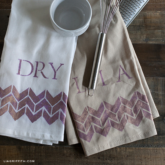 Stenciled Kitchen Towels