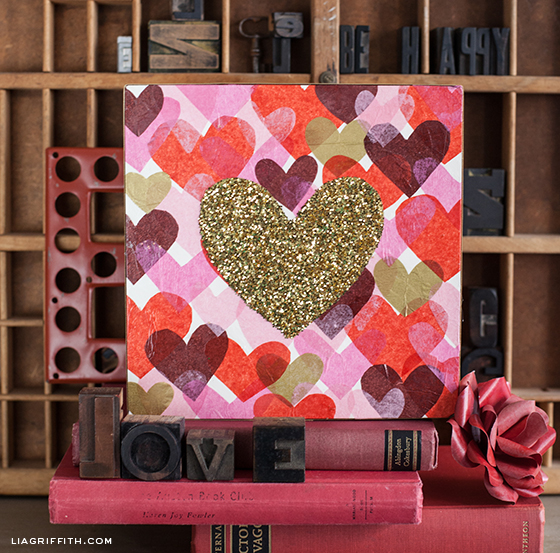 Tissue Glitter Heart Art