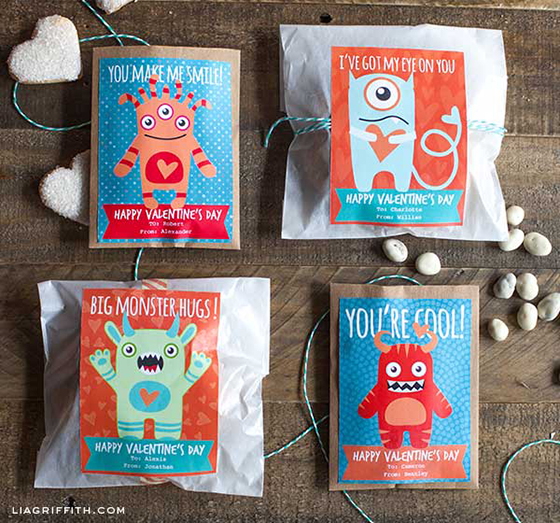 Cute Monster Valentine Labels