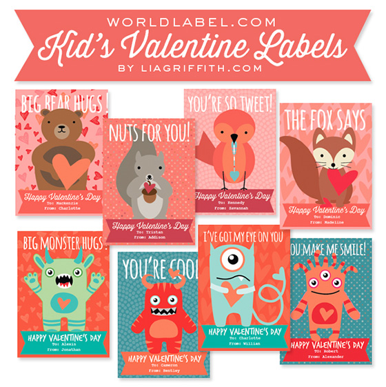 Kids Valentines Day Labels