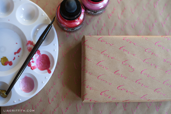 DIY Pink Calligraphy Gift Wrap